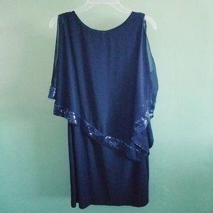 Style Co Women Blue Dress Knee Length Chiffon Top